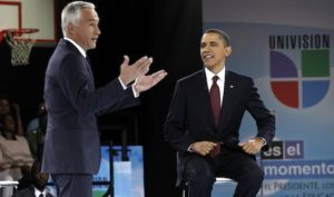 U.S. President Barack Obama participates in a town hall meeting hosted by Univision at Bell Multicultural High School in Washington March 28, 2011. With Obama is moderator Jorge Ramos, a news anchor for Univision. REUTERS/Kevin Lamarque (UNITED STATES - Tags: POLITICS)